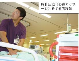 胸骨圧迫(心臓マッサージ)をする看護師